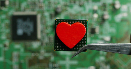love for a chip, futuristic and modern advanced technology system. The computer is used in the computer processors and the hi-tech communication and business security and information and assistance Banco de Imagens - 118556791
