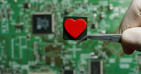 love for a chip, futuristic and modern advanced technology system. The computer is used in the computer processors and the hi-tech communication and business security and information and assistance Archivio Fotografico