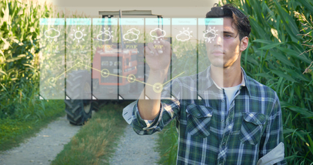 Futuristic young farmer (student) working in the field, tractor, hologram controls the weather, happy, in shirt, cornfield
