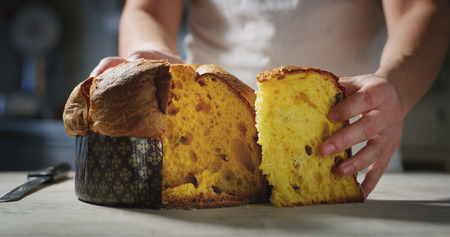 chef who controls the quality of his Italian panettone