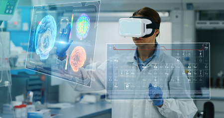 Portrait of a futurist researcher using the augmented reality. Shot in 8K. Concept of futuristic medicine and science