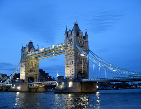 london bridge: Near Tower Bridge, evening twilight.