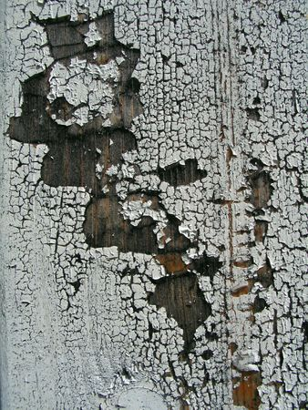 decrepitude: The wooden surface which was painted for ages ago by white oil paint  Stock Photo