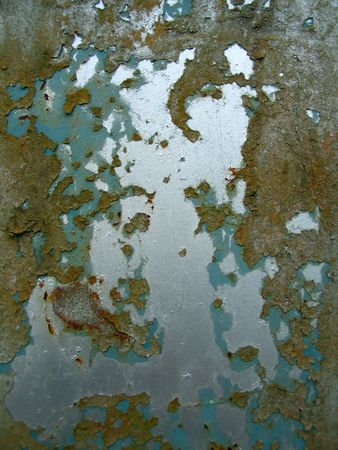decrepitude: The metal surface which was painted by three different paints
