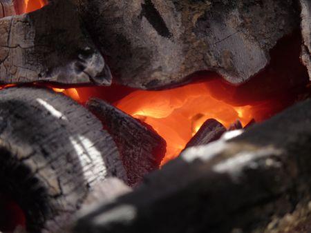 detai: Campfire closeup