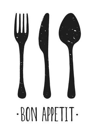 Vector Bon appetit. Hand drawn. Poster. Lettering. Illustration. Fork and knife.