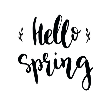 Vector hand drawn illustration. Hello spring. Lettering. Black and white.