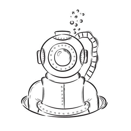 Hand drawn illustration diver retro vintage. Idea for a t-shirt, poster, signs. Stock Photo