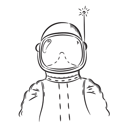 spaceflight: Hand drawn illustration astronaut. Idea for a t-shirt, poster, signs.