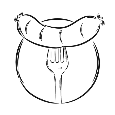 banger: Hand drawn illustration, sausage on a fork. Idea for a t-shirt, poster, signs.