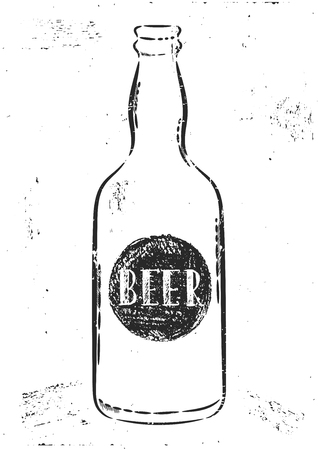 beers: Vector hand drawn illustration. The idea for a cafe, restaurant,kitchen,  poster. Bottle beer poster.