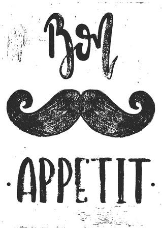 ベクトルの手描きイラスト。カフェ、レストラン、キッチン、ポスターのためのアイデア。Bon appetit 口ひげポスター。