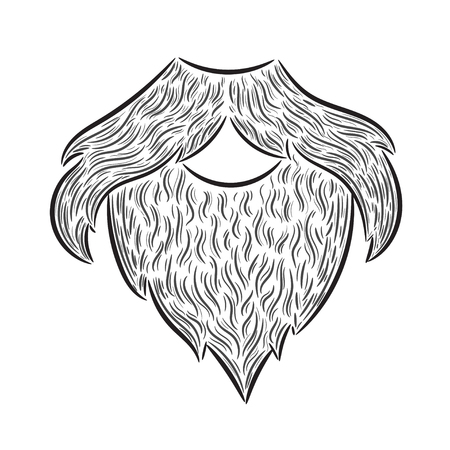 whisker characters: Hand drawn illustration beard, moustache man. Idea for a t-shirt, poster, signs.