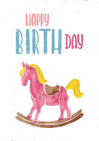 Illustrazione disegnata a mano di vettore Buono regalo per il compleanno, sedia a dondolo a cavallo Archivio Fotografico - 82752127