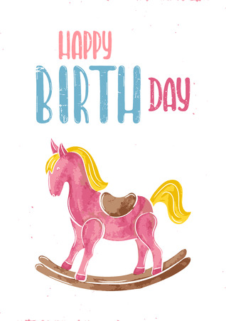 Vector hand drawn illustration. Gift card on the birthday, horse rocking chair
