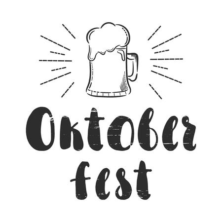 pretzel: Oktoberfest, Germany. Vector hand drawn illustration. The idea for a  poster, t-shirt. Lettering poster.