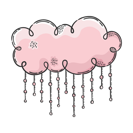 Pink cloud. Vector hand drawn illustration. The idea for a  poster, postcard, t-shirt. Illustration