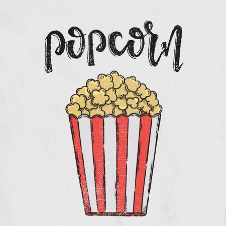 Popcorn lettering. Vector hand drawn illustration. The idea for a  poster, postcard, t-shirt.