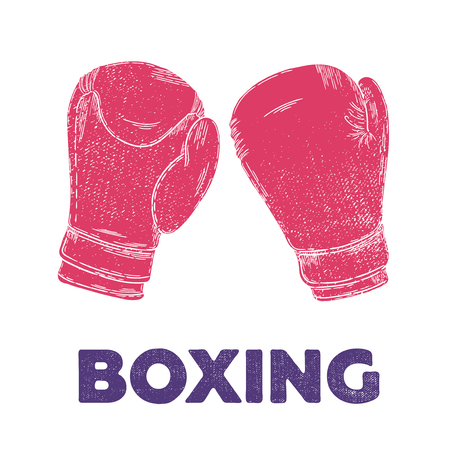 Vector hand drawn illustration. Boxing gloves, sport, fitness. the idea for the poster.