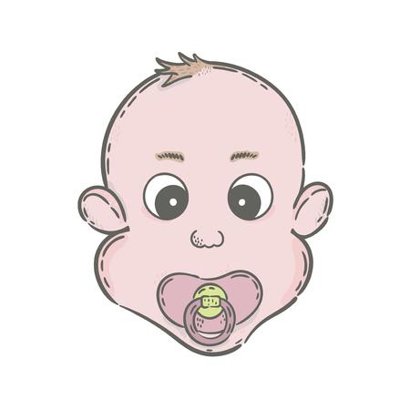 Vector hand drawn illustration. Baby with a nipple icon, newborn.