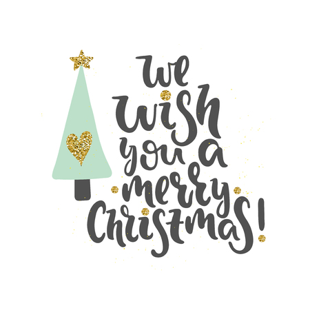Vector hand drawn illustration. We wish you a merry Christmas. Poster, postcard. Lettering.