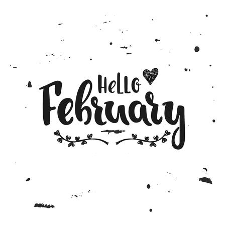 Hand drawn illustration Hello February.