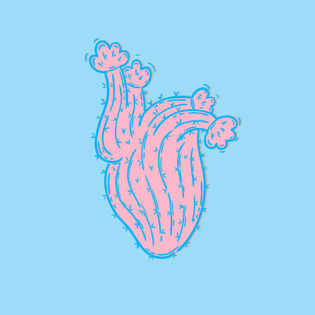 A Vector hand drawn illustration. Cactus in the shape of a heart in the technique of doodling, bright pastels, bold.