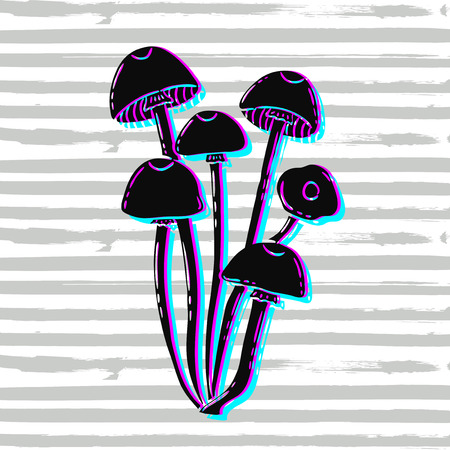Vector hand drawn illustration. Postcard, poster with the mushrooms.