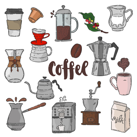 Vector hand drawn illustration. Coffee set and lettering. Idea for cafe and restaurant. Иллюстрация