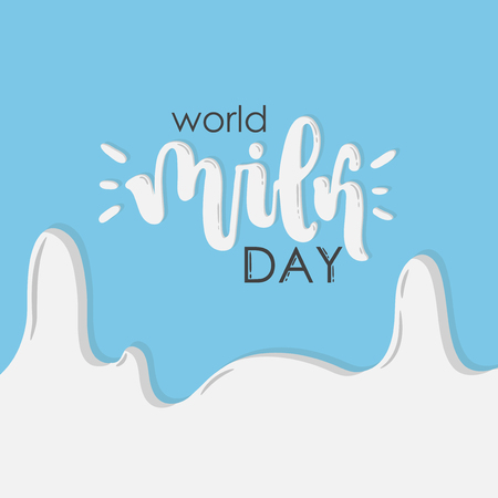 Vector hand drawn illustration. Lettering World milk day, 1 june. Idea for poster, postcard.