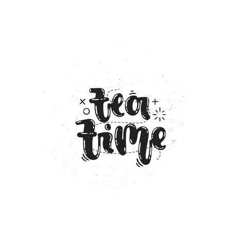 Vector hand drawn illustration. Phrases Tea time lettering. Idea for label. Ilustrace