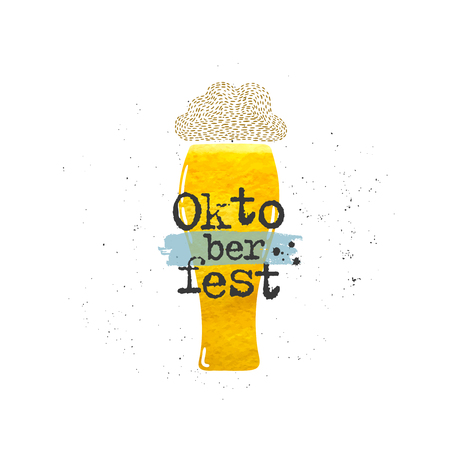 Vector hand drawn illustration. Oktoberfest, beer. Idea for poster, postcard. Çizim
