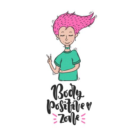 Vektor Hand gezeichnete Illustration. Schriftzug Körper positive Zone, Herz, Mädchen. Idee für Plakat, Postkarte.