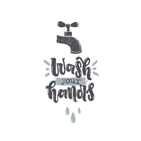 Vector hand drawn illustration. Lettering Wash your hands. Idea for poster, postcard. Standard-Bild - 109725511