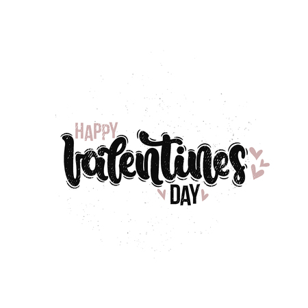 Vector hand drawn illustration. Lettering phrases Happy Valentines day. Idea for poster, postcard.