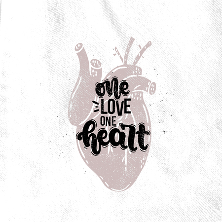 Vector hand drawn illustration. Lettering phrases One love one heart. Idea for poster, postcard.