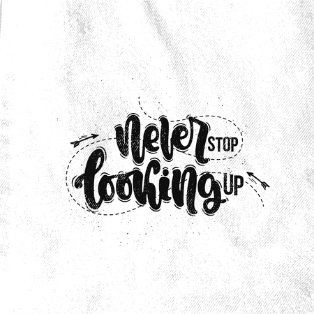 Vector hand drawn illustration. Lettering phrases Never stop looking up. Idea for poster, postcard. Ilustrace