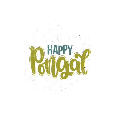 Vector hand drawn illustration. Lettering phrases Happy pongal. Idea for poster, postcard.