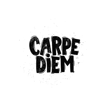 Vector hand drawn illustration. Lettering phrases Carpe diem. Idea for poster, postcard.