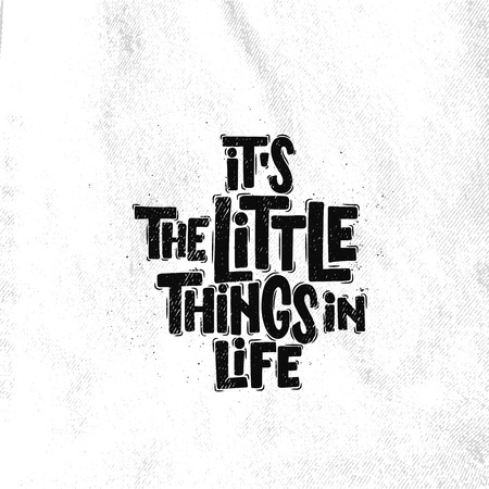 Vector hand drawn illustration. Lettering phrases Its the little things in life. Idea for poster, postcard.