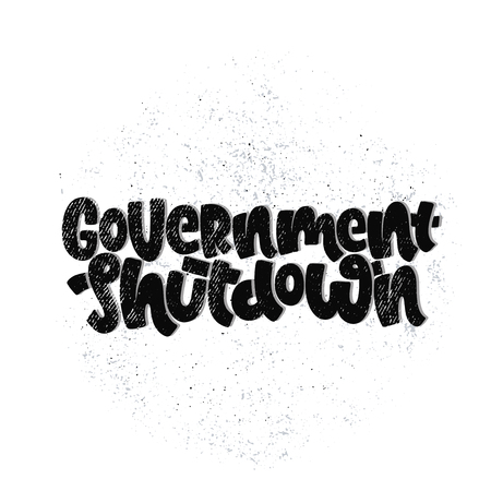 Vector hand drawn illustration. Lettering phrases Government shutdown USA. Idea for poster, postcard.