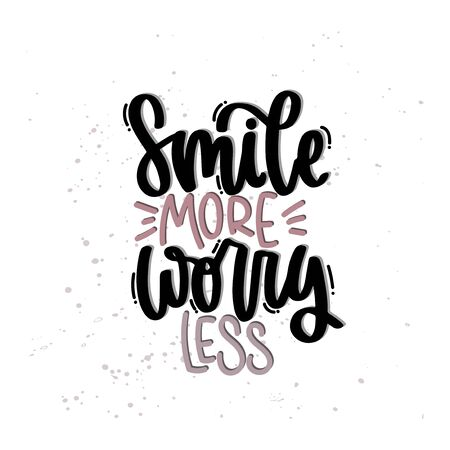 Vector hand drawn illustration. Lettering phrases Smile more worry less. Idea for poster, postcard. 矢量图像