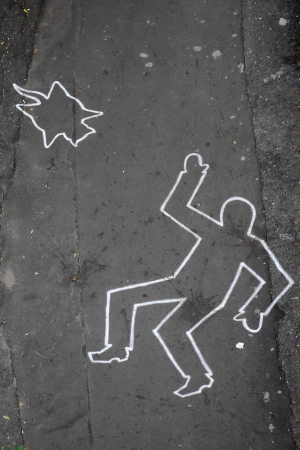 chalk outline: Drawing by chalk on the city street Stock Photo