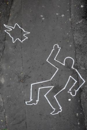 Drawing by chalk on the city street Standard-Bild