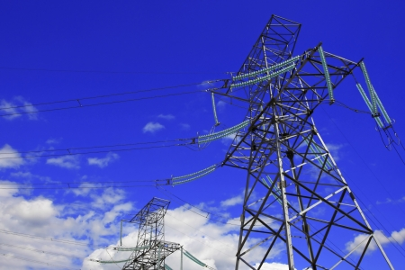 Electric line against the dark blue sky Stock Photo - 13929233