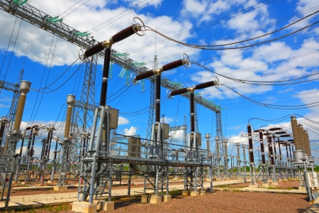 Electric substation in a bright sunny day  Stock Photo - 15986570