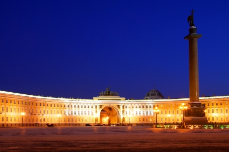 Night view of St Petersburg and Palace Square