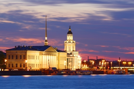 dome type: Night view of St  Petersburg