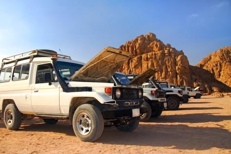 Safari on jeeps Stock Photo
