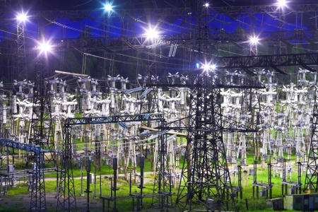Electric substation in night-time lighting Stock Photo - 24519643